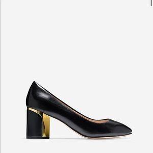 Cole Haan Black Leather Block Heel Pump